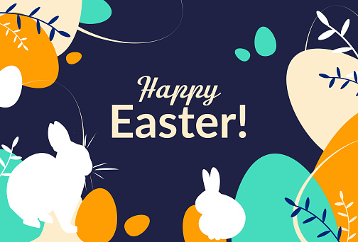 Happy Easter Day. Colorful greeting card. Banner with eggs, bunny and plants.