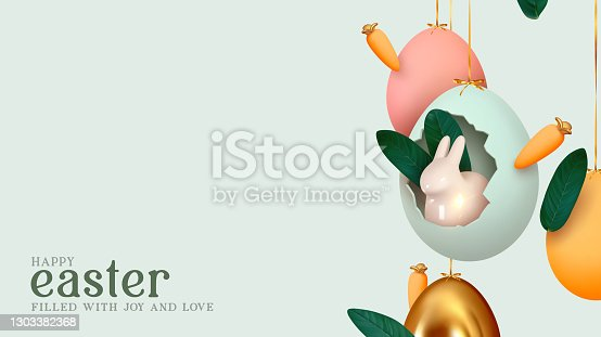 istock Happy Easter day. Festive background design with realistic colorful eggs, easter bunny, rabbit in an egg hanging on ribbon. Creative holiday composition. Banner and poster. Brochure and flyer 1303382368