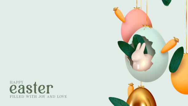 Happy Easter day. Festive background design with realistic colorful eggs, easter bunny, rabbit in an egg hanging on ribbon. Creative holiday composition. Banner and poster. Brochure and flyer vector art illustration
