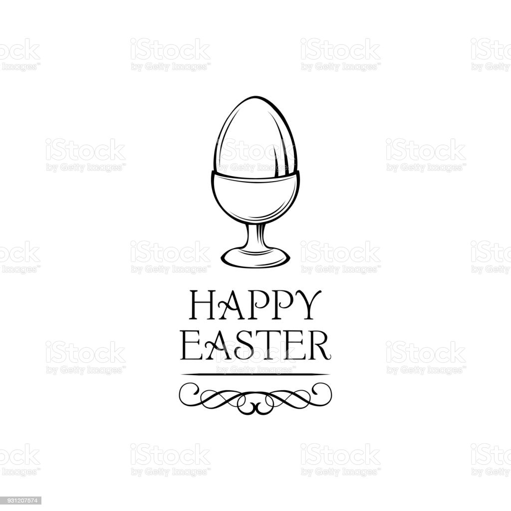 Happy easter day greeting card with egg holder. Egg-cup. Vector illustration. vector art illustration