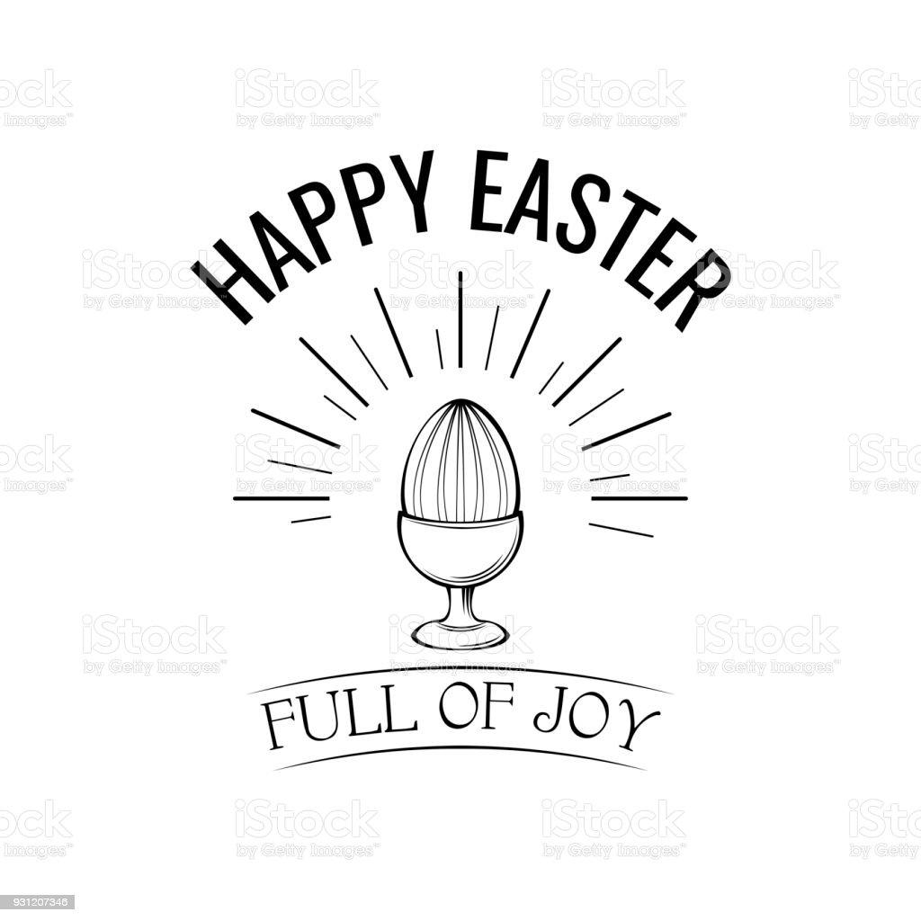 Happy easter day greeting with egg holder. Full of joy text. Vector illustration. vector art illustration
