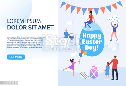 Happy Easter day lettering, people, garland and sample text. Celebration, decoration, traditional. Presentation slide template. Can be used for topics like Easter, holiday, spring