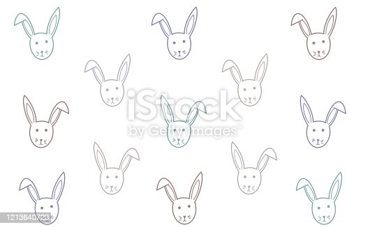 Cute Bunny Illustration For Children Hipster Rabbit Flower Frame Clipart Image