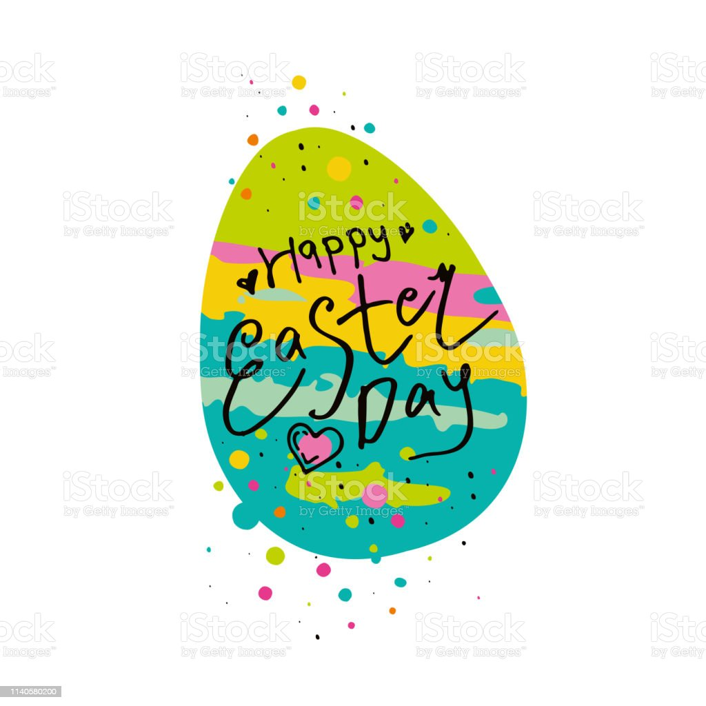 Happy Easter Day Vector Template With Gift Easter Egg And Colorful