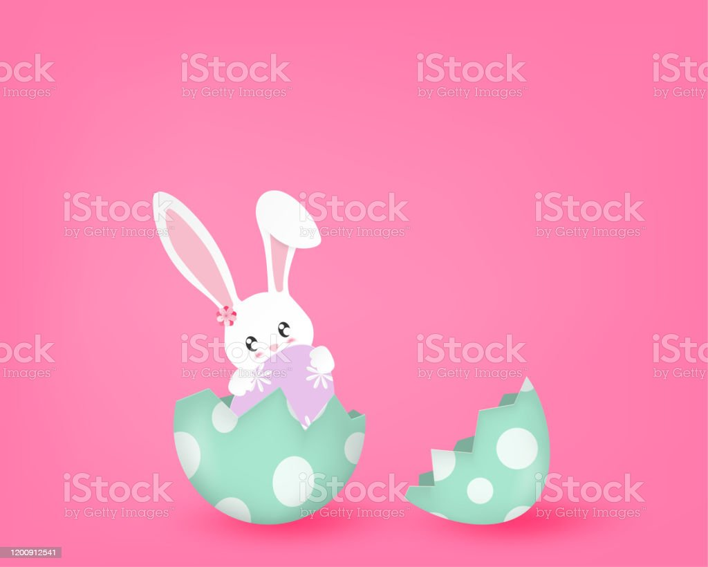 Happy Easter Day With Cute Bunny In A Half Broken Egg On Pink Background In Paper Cut Style Vector Illustration Poster Banner Backdrop Wallpaper Stock Illustration Download Image Now Istock