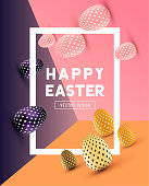 An Easter border design with decorated Easter eggs. Vector illustration
