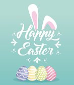 Happy easter design with bunny ears and easter eggs over turquoise background colorful design vector illustration