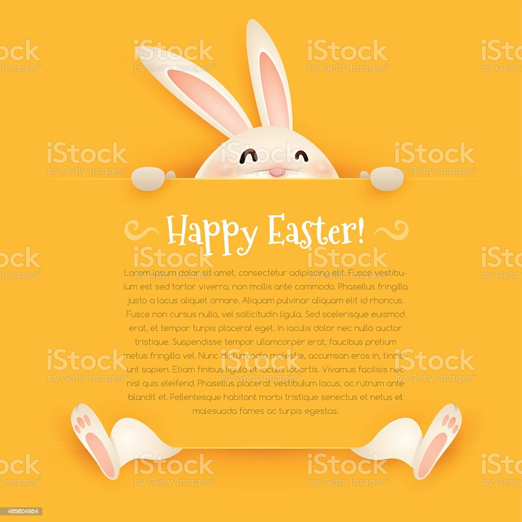 Happy Easter! Easter bunny with big sign vector art illustration