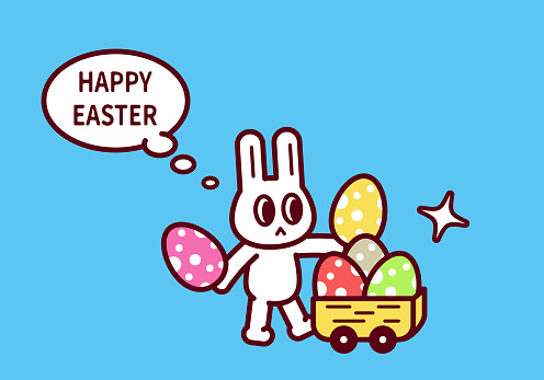 Happy Easter, Easter Bunny with Easter Eggs and cart