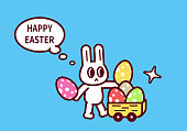 Easter Characters Vector Art Illustration Happy Easter, Easter Bunny with Easter Eggs and cart.