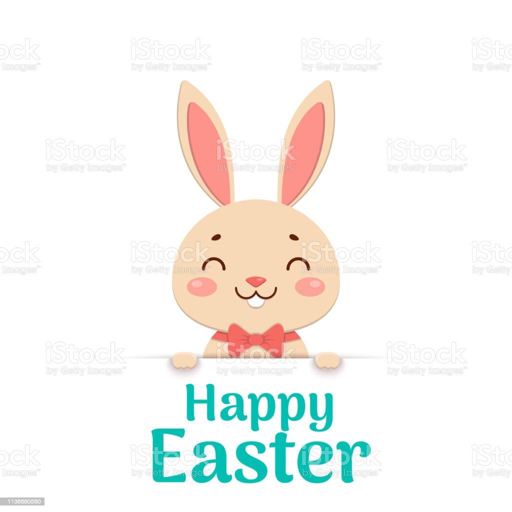 Joyeux Pâques Lapin De Sourire De Dessin Animé De Pâques