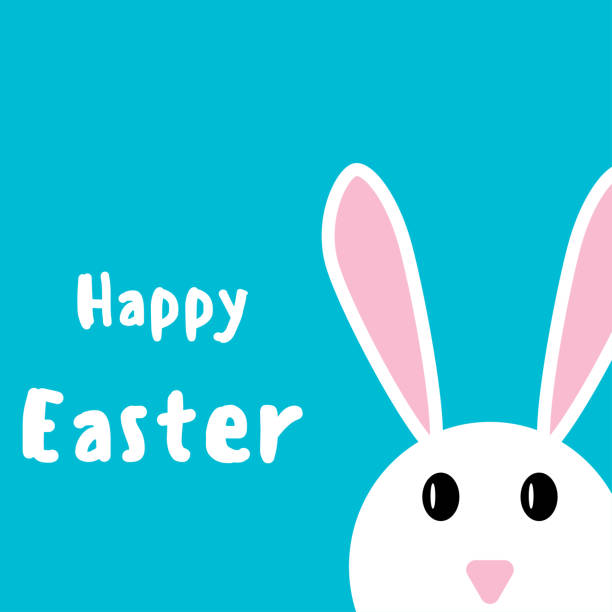 Happy easter. Easter rabbit on a blue background Happy easter. Easter rabbit on a blue background ducking stock illustrations