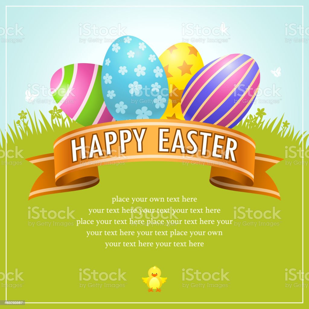 Happy Easter Egg Banner vector art illustration