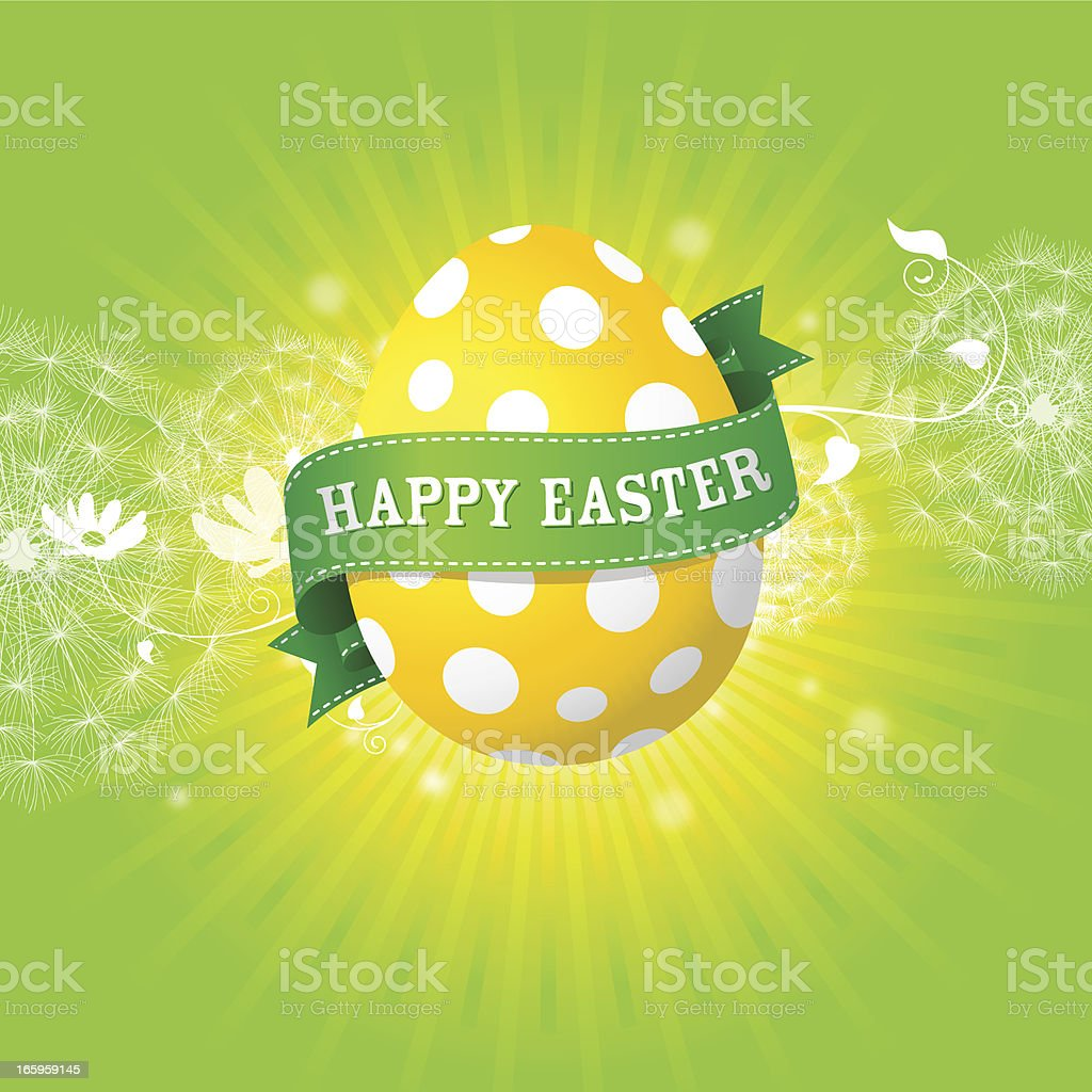Happy Easter Egg on green royalty-free stock vector art