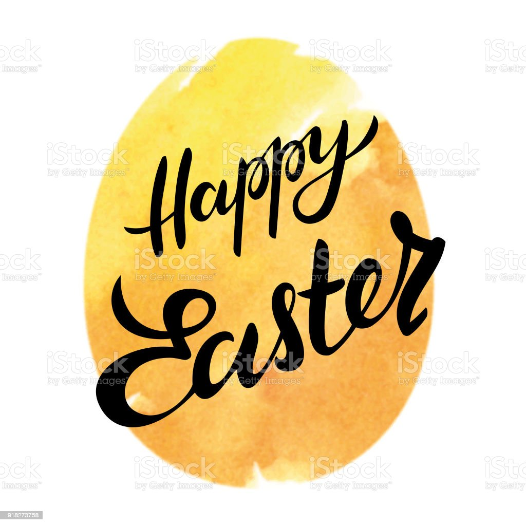 Happy easter egg watercolor typography vector art illustration