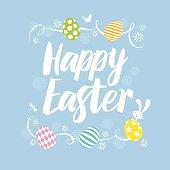 Happy Easter card design with flowers Easter eggs and rabbit. Vector Illustrator CS3 • Illustrator 10eps • Large jpeg