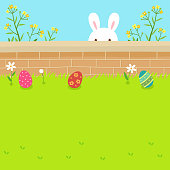 Easter, eggs, rabbit,holiday,cute,flowers,spring,garden,fence