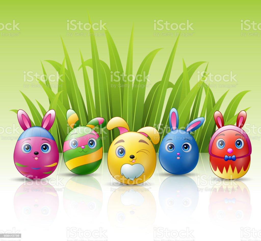 Frohe Ostern Eiern Cartoonfigur Mit Hasen Ohren Und Rasenhintergrund ...