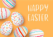 Happy Easter eggs frame with text. Colorful easter eggs on golden background. hand font. Scandinavian ornaments. simple orange, red, blue stripes, patterns