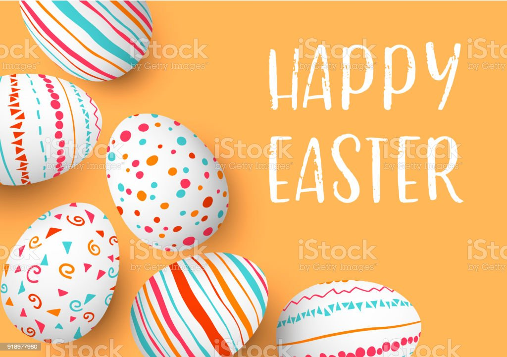 Happy Easter eggs frame with text. Colorful easter eggs on golden background. hand font. Scandinavian ornaments. simple orange, red, blue stripes, patterns vector art illustration