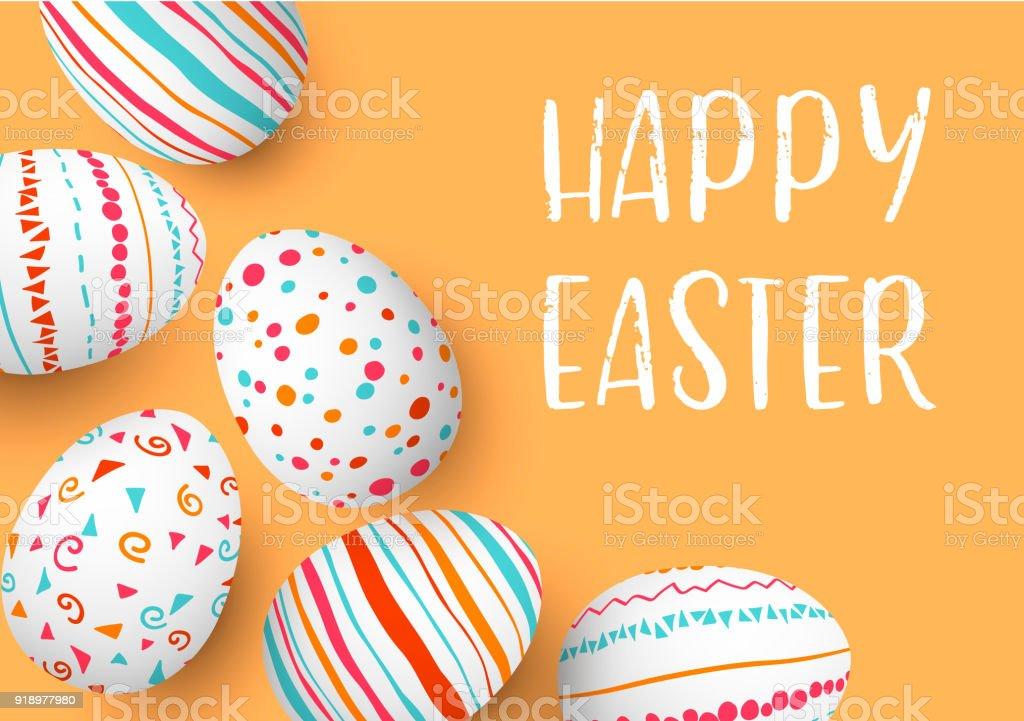 Joyeux Pâques oeufs cadre avec texte. Oeufs de Pâques colorés sur fond doré. polices de la main. Ornements scandinaves. simples rayures orange, rouges, bleus, motifs - Illustration vectorielle