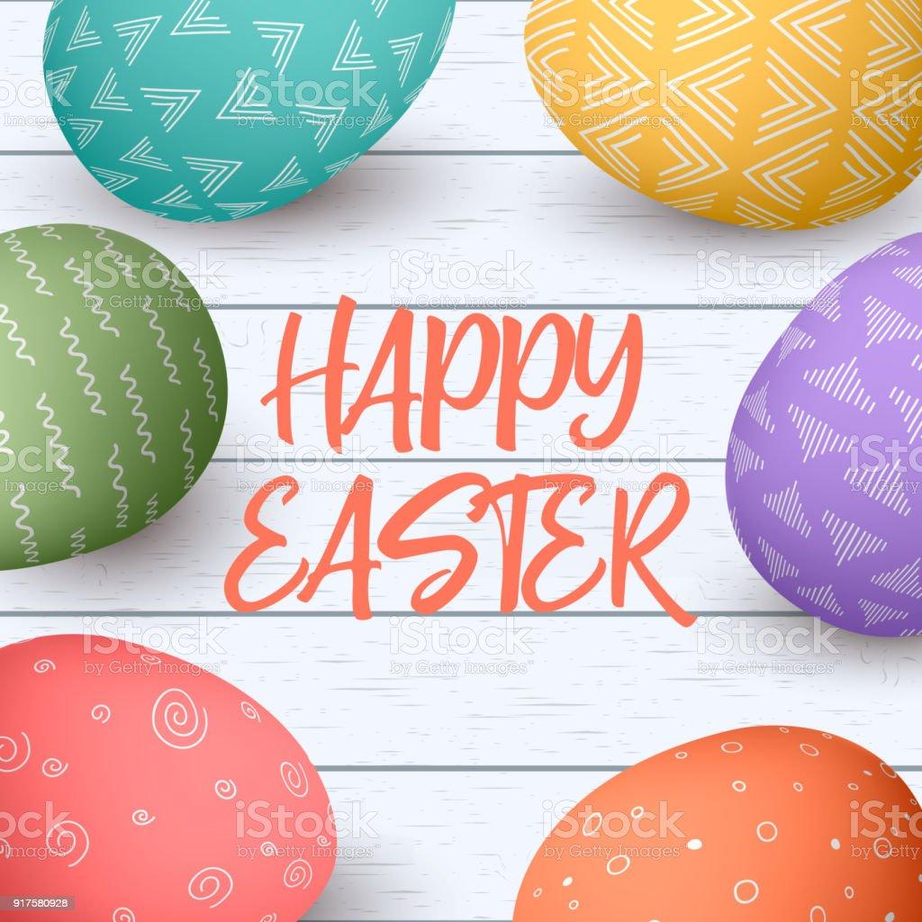 Happy Easter Eiern Rahmen Mit Text Bunte Ostereier Auf Weißem ...
