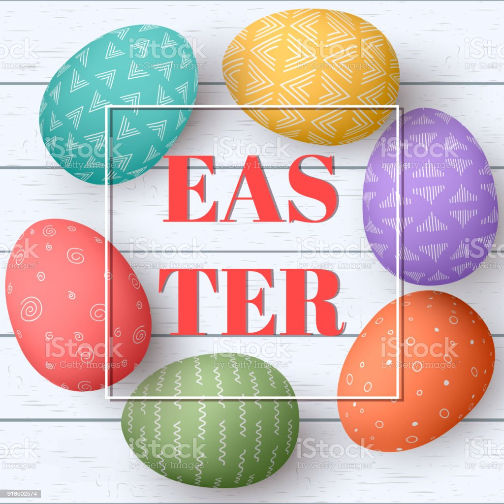 Happy Easter Eiern Rahmen Mit Text Bunte Ostereier Auf Weißen ...