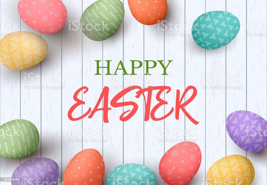 Ilustración de Feliz Marco De Huevos De Pascua Con Texto Huevos De ...