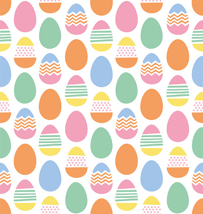 Happy Easter eggs seamless pattern