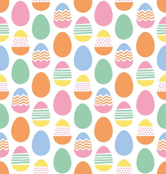 행복 한 부활절 달걀 완벽 한 패턴 - 부활절 달걀 stock illustrations