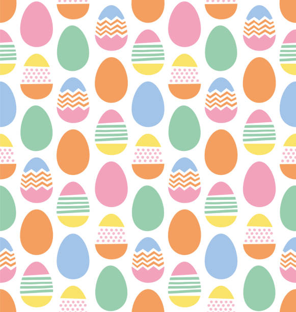 Happy Easter eggs seamless pattern Happy Easter eggs seamless pattern egg stock illustrations