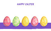 Happy Easter. Set of eggs with different texture and festive decoration elements on a white background. Spring holiday. Poster for website, offers and discounts. Vector flat Illustration.