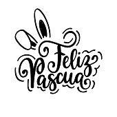 Happy Easter Feliz Pascua vector Spanish Christian holiday greeting design
