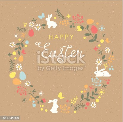 istock Happy Easter floral wreath brown paper card 481135699