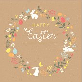 Happy Easter floral wreath brown paper card with rabbits and eggs. Brown paper seamless pattern on background. Global colors used - easy to change color.