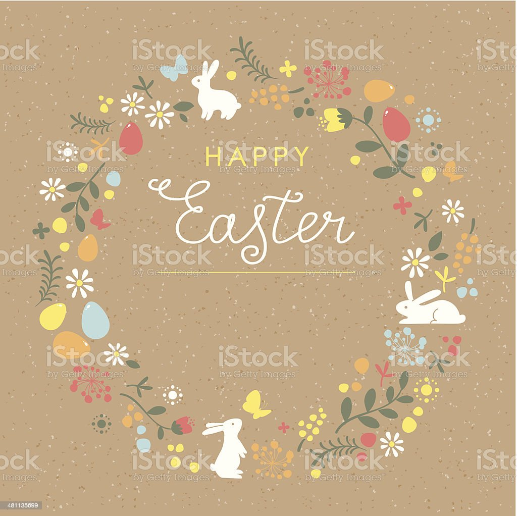 Happy Easter floral wreath brown paper card vector art illustration