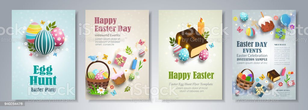 Happy Easter Flyer Template Stock Vector Art More Images Of