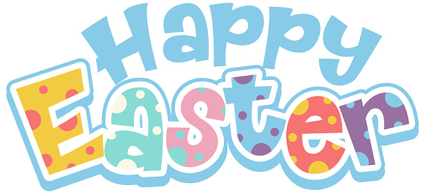 Happy Easter font design on white background