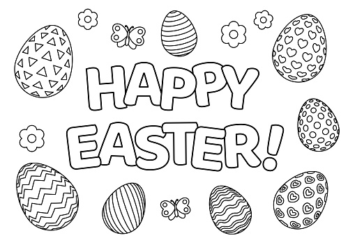 Happy Easter for coloring