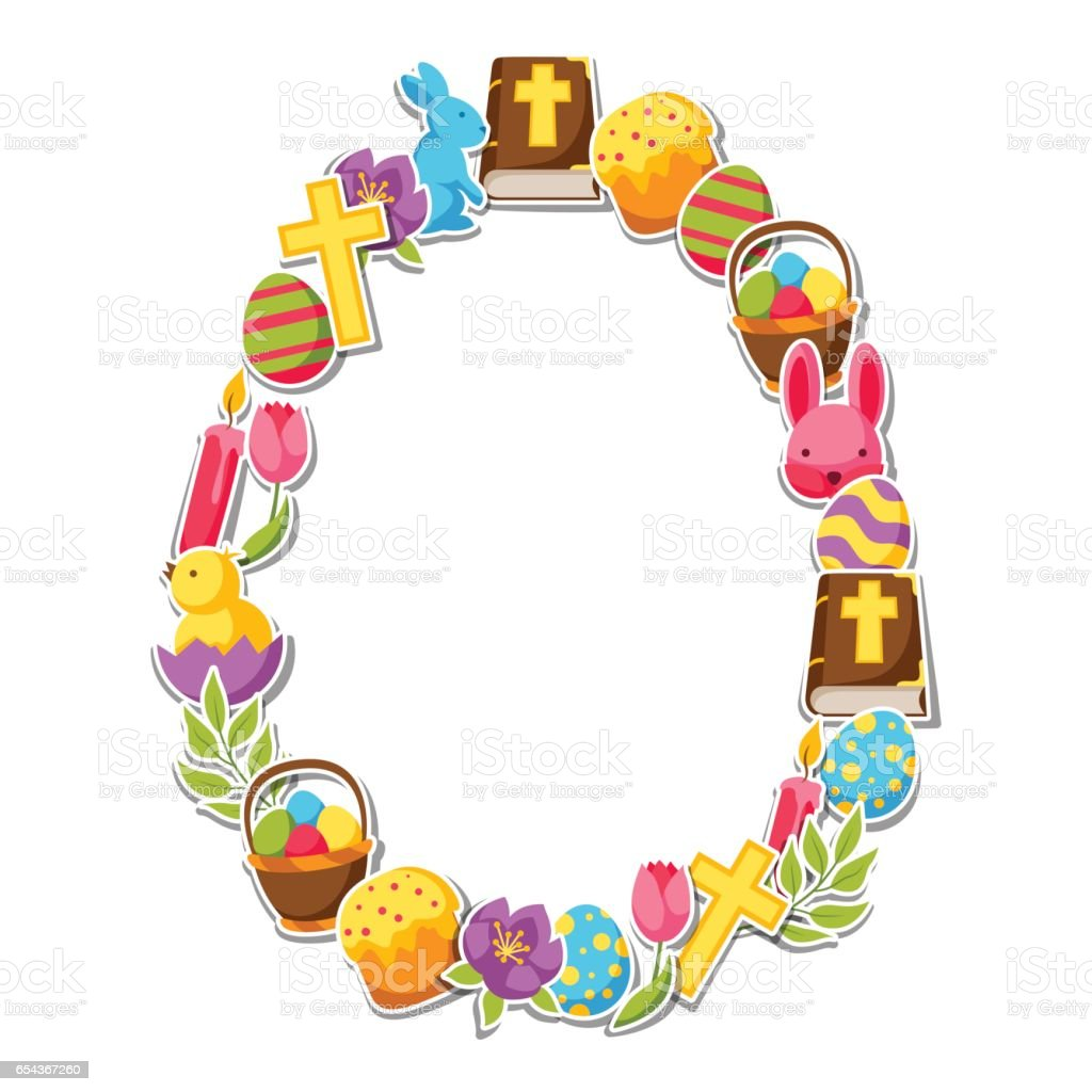Happy Easter Frame With Decorative Objects Eggs And Bunnies Stickers ...
