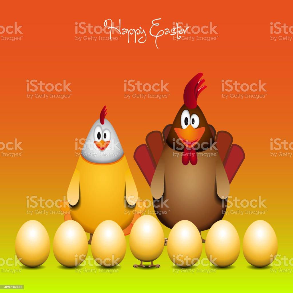 Frohe Ostern Lustige Huhn Familie Vektorillustration Stock Vektor