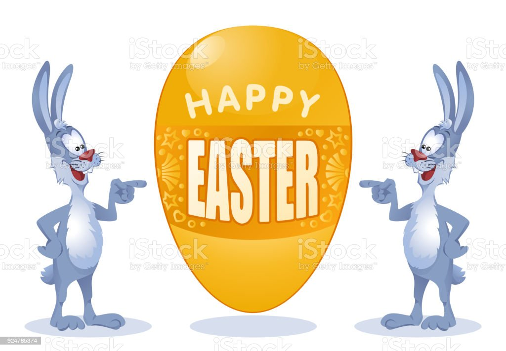 Happy Easter Funny Rabbits With Great Easter Egg Cartoon