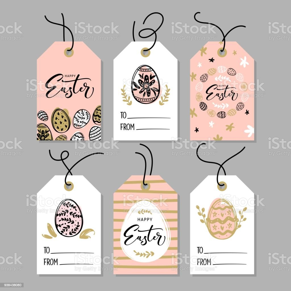 Happy easter gift tags with calligraphy handwritten lettering hand happy easter gift tags with calligraphy handwritten lettering hand drawn design elements royalty negle Images