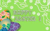 Happy Easter. Green background.dandelions. Lettering, calligraphy.Vector