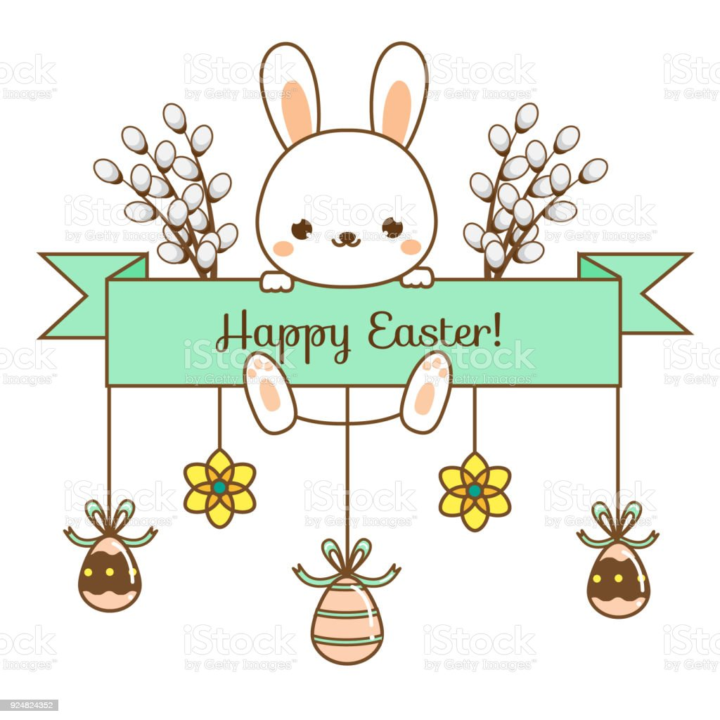 happy easter greeting banner seasonal design template with cute
