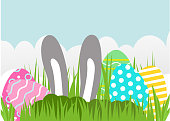 Happy Easter greeting card. A realistic vector image that simulates paper cut