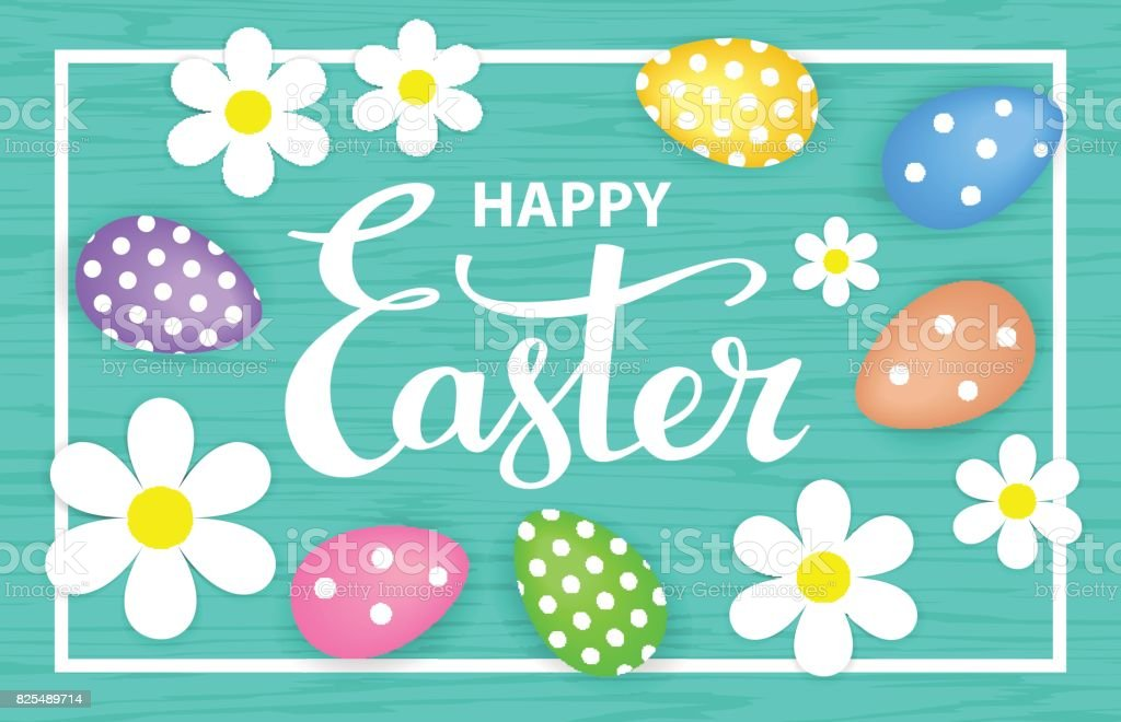 Happy easter greeting card background with paper flowers on a frame happy easter greeting card background with paper flowers on a frame eggs and hand lettering mightylinksfo