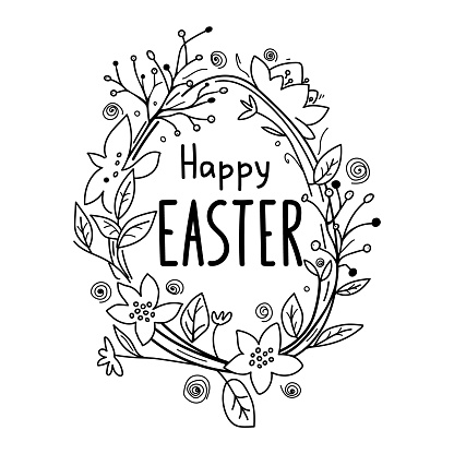 Happy Easter greeting card, hand-drawing lettering. Vector lettering with egg frame and spring flowers. Sketch for adult coloring page, greeting card, t-shirt design. Religious holiday sign