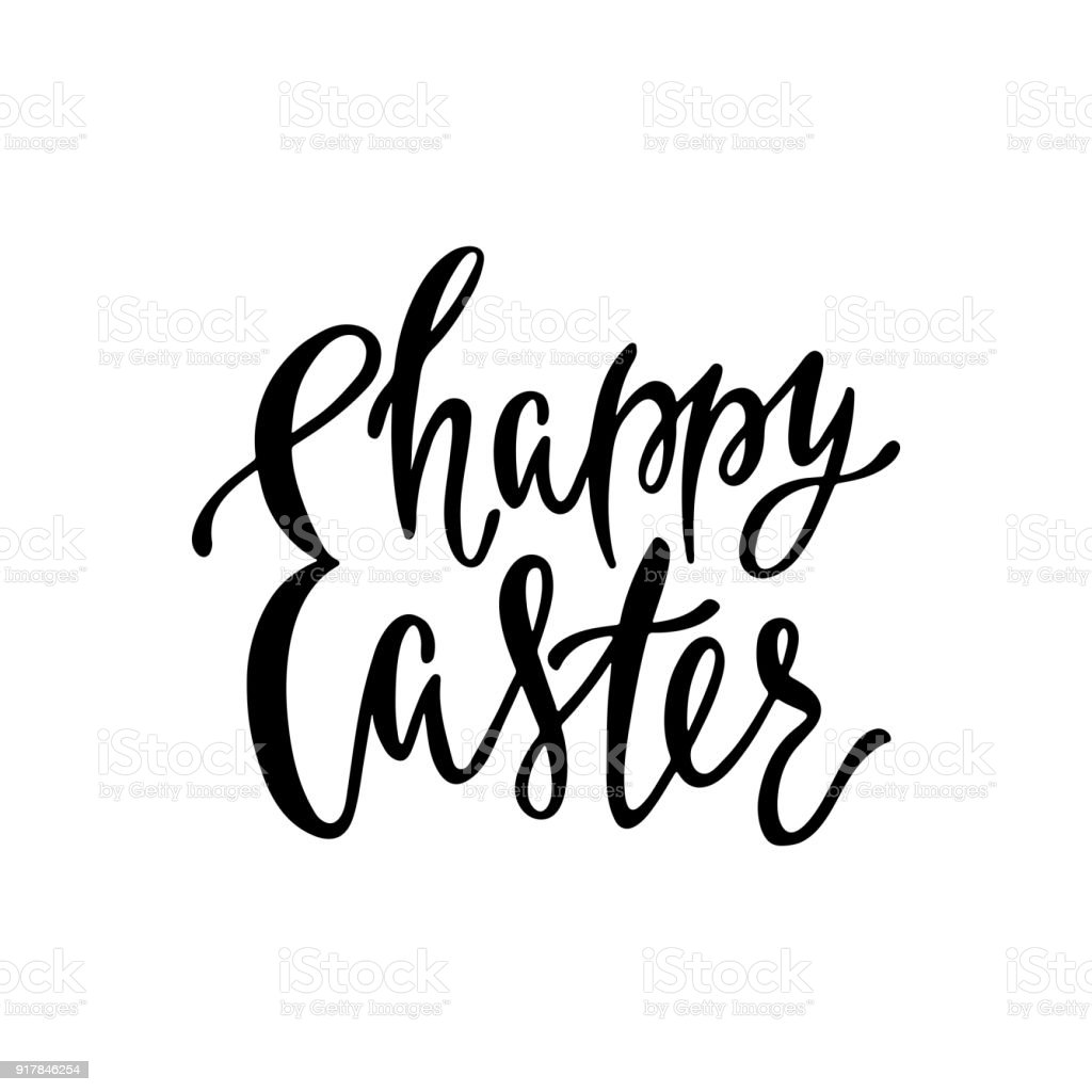 Happy Easter Greeting Card Handwritten Vector Lettering Text