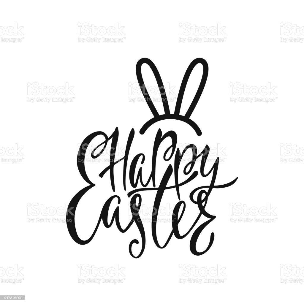 Happy Easter Greeting Card Handwritten Vector Lettering Text With